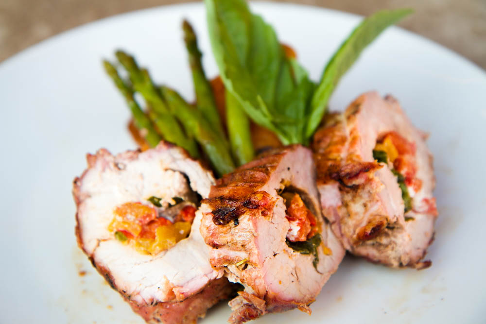 Grilled Pork Tenderloin Roulade with Roasted Peppers, Basil, and Goat Cheese
