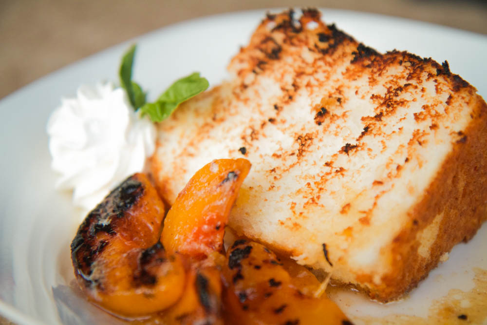 Toasted Angel Food Cake with Grilled Peaches