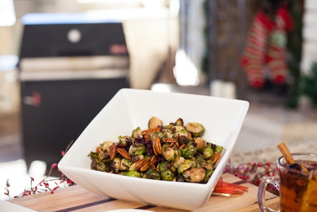 Grilled Brussels Sprout, Cranberry, Pecan Salad